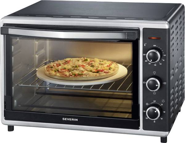 severin mini-four avec chaleur tournante, pierre à pizzas incluse, 1 800 w, 42 l, to 2058